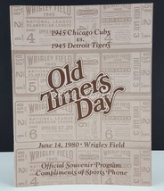 Old Timers Day Program June 14, 1980, Wrigley Field 1945 Cubs vs 1945 Ti... - $6.93