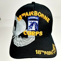 US Army 18th Airborne Corps Men's Ball Cap Hat Black Acrylic Embroidered - $12.37