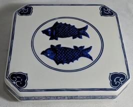 GG Vintage American Heritage Museum Cobalt Ceramic Fish Themed Raised Tr... - $15.14