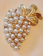Vintage WEISS Faux Pearl Brooch Pin Gold-Tone Brushed Gold finish - $39.95