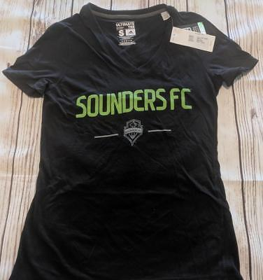 LZ ADIDAS Women's Small Seattle Sounders FC Socer T-Shirt Shirt Top Top NEW T27