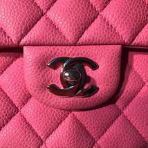 AUTHENTIC CHANEL PINK QUILTED CAVIAR MEDIUM CLASSIC DOUBLE FLAP BAG SHW image 8