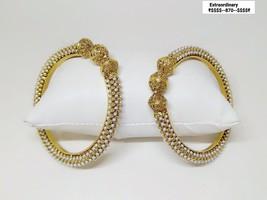 Kada Bangle Gpld Polish Bracelet Kangan Hand Rings Bollywood Ethnic Chud... - $53.91