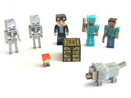 Lot of 8 Minecraft Figure Diamond Armor Steve Skeleton Crafting Table Tubehero - $21.99