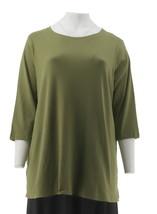 Isaac Mizrahi Essentials 3/4 Slv Curved Hem Tunic Green Olive XS NEW A266663 - $21.76