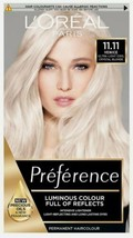 L'Oreal Preference Permanent Hair Dye, 11.11 Ultra Light Cool Crystal Bl... - $20.80