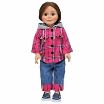 "18"" Doll Clothes Outfit,Pink Flannel Shirt, Jeans +Denim Shoes Fit Ameri... - $26.17"