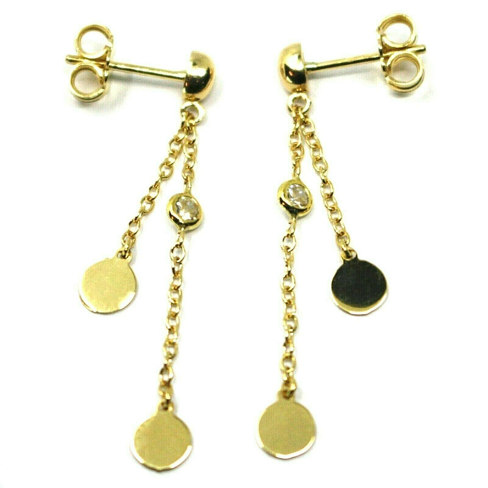 18K YELLOW GOLD PENDANT EARRINGS, DOUBLE WIRES WITH DISCS & ZIRCONIA 1.5 INCHES