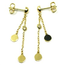 18K YELLOW GOLD PENDANT EARRINGS, DOUBLE WIRES WITH DISCS & ZIRCONIA 1.5 INCHES  image 1