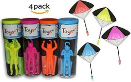 """4 Pack Tangle Free Throwing Toy Parachute Man with Large 20"""" Parachutes! Blue, O"""