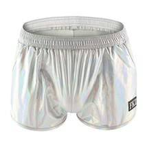 Men's sexy underwear faux leather metallics silver boxer briefs panties - $20.00