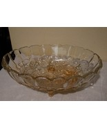 Vintage Indiana Glass Harvest Grape Oval Footed Fruit Bowl Peach Great Condition - $9.95