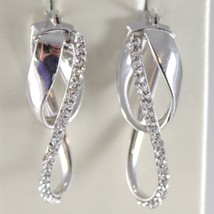 White Gold Earrings 750 18k Double Oval Corrugated Circle, 3.2 CM, Zirconia image 1