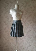 Mini GRAY Plaid Pleated Skirt College Style Pleated Plaid Skirt Plus US0-US18 image 2