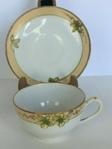 Nippon Teacup and Saucer Hand Painted Floral Small Delicate Japan Gold Rim - $18.69