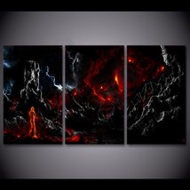 3 Pcs Volcano Magma Rock Wall Picture Home Decor Printed Canvas Painting - $39.99+