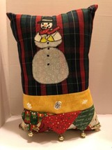 Snowman Decorative Pillow Christmas Appliqué Bells Hand Made Plaid  - $8.59