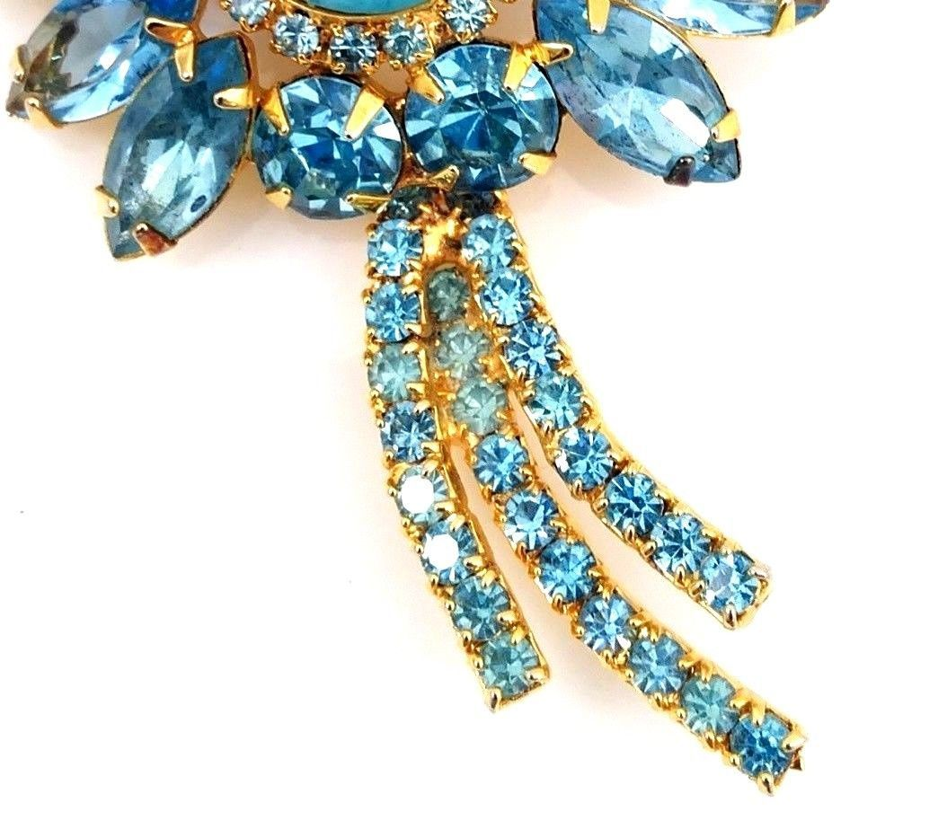 Juliana Blue Turquoise Matrix Brooch with Glass Flowers and Rhinestones