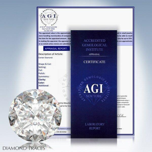 2.19ct I-I1 Ideal Round AGI Genuine Diamond 14k Gold Twist Solitaire Ring 1.6mm