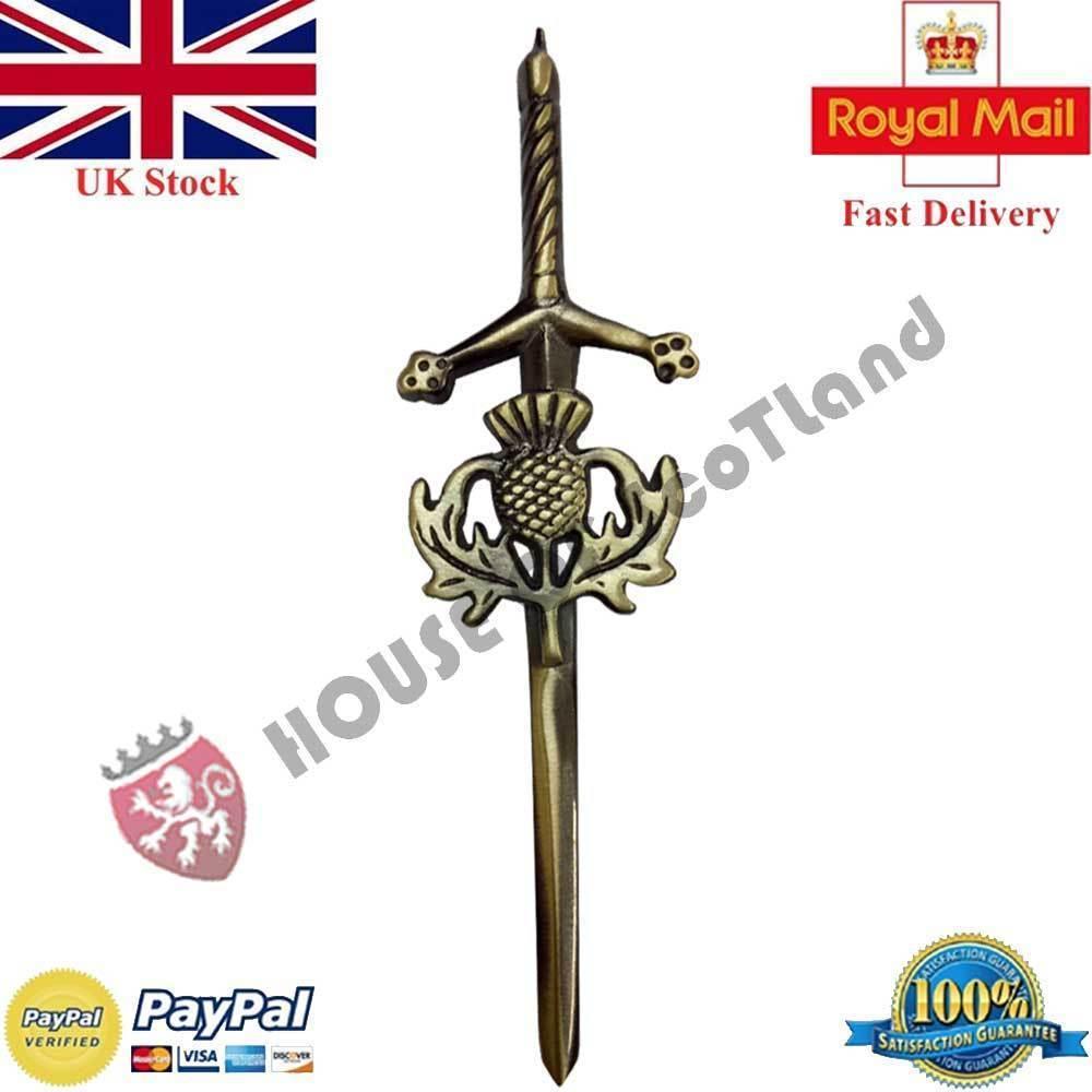 "New Thistle Hilt Sword  Kilt Pin Antique 4/""//Scottish Kilt Pins//Celtic Pin Brooch"