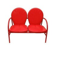 Northlight Vibrant Red Retro Metal Tulip Outdoor Double Glider - $172.00