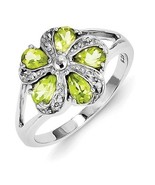 STERLING SILVER NATURAL PERIDOT & DIAMOND FLOWER CLUSTER RING BAND - SIZE 7 - $64.90