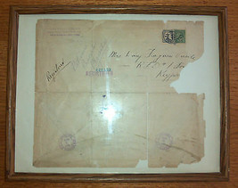 September 3, 1924 USPS Registered Mail Stamped Envelope Framed w/ Postag... - $14.84