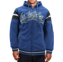 Men's Athletic Los Angeles Varsity Sherpa Fleece Lined LA Zip Up Hoodie Jacket image 2