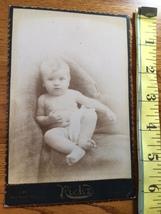 Cabinet Card Cute Baby Boy & Hidden Mom in Chair Studio Artwork Chicago 1880's! - $9.00