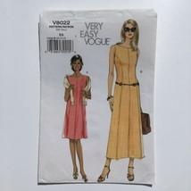 Vogue 8022 Sleeveless Princess Seam A-Line Dress Misses 8-14 Uncut Patte... - $18.33