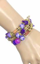 Bohemian BOHO Simulated Purple Fimo Acrylic Beads Coil Bracelet Bracelet Urban - $14.20