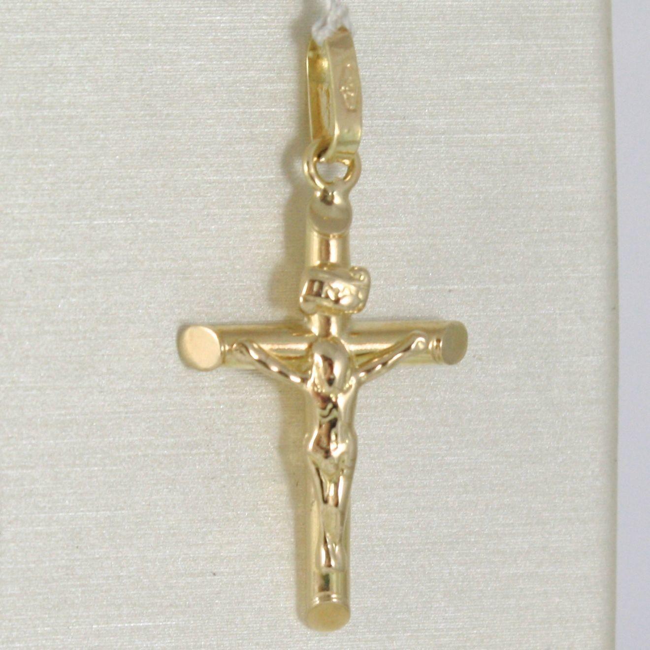COLGANTE DE LA CRUZ ORO AMARILLO O BLANCO 750 18 CT,TUBO,CON CRISTO,JESUS,