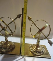Vintage Solid  Brass Book Ends - Sundial  Armillary Sphere  Globe - $47.45