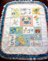 "Hand Quilted  XStitched ""PATCHWORK PALS"" Baby Quilt Crib Blanket add ba... - $169.99"