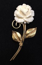 Vintage Winard 12k Gold Filled Carved Rose Pin Brooch Cream - $47.35