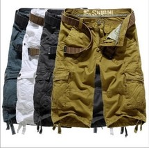 Men's Summer Shorts Cargo Shorts loose casual pants large size bags of c... - $51.00