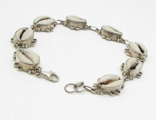 925 Sterling Silver - Vintage Puka Shell Pattern Bracelet - B1355
