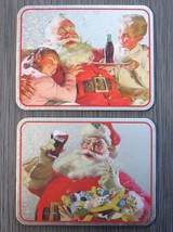 COCA COLA Santa Claus Christmas Coke Tin Signs Trivet Hot Plate LOT - $14.99