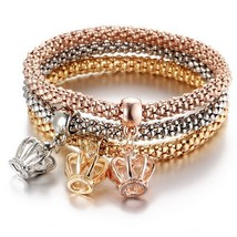 3 Pcs/Set Crystal Owl Crown Charm Bracelets&Bangles 3 Color Rose Gold Co... - $14.24