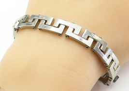 925 Sterling Silver - Vintage Shiny Greek Key Link Chain Bracelet - B6011 - $84.99