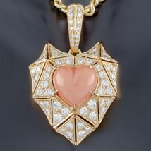 Bulgari Bvlgari High Jewelry 18k Yellow Gold Diamond and Coral Heart Pendant - $38,491.20