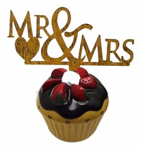 "3 pcs Mr & Mrs signs gold  sparkle acrylic 5"" x 3"" cake top pick - $8.90"