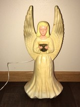 "Vtg 18"" Union Hard Plastic Gold Tipped Lighted Christmas Angel Table Decor #3 - $39.59"