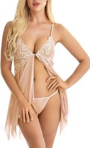 Lingerie for Women Front Closure Babydoll Lace Chemise V Neck Mesh Sleepwear 1 image 11