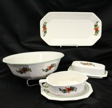 Pfaltzgraff Xmas Heritage A Joyous Heart Serving Pieces Lot of 4 Bowl Tray Gravy - $68.59
