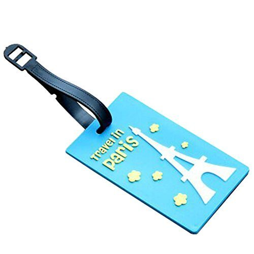 Set of 2 Luggage Tags Bag Tags Silicone Name Tags Travel Tags[Blue Eiffel Tower]