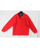 J Crew Fleece L size 1.4 zip Sweater Mens Red Soft Easy Wear Pull On Jacket - $18.26