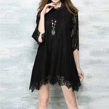 Women Sexy Lace 3/4 Sleeve Loose Wedding Cocktail Party Formal MIni Dress  - $42.84