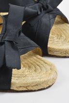 SZ Grosgrain Espadrille Christian Wedge Sandals 38 Ribbed Black Louboutin qZ00ER
