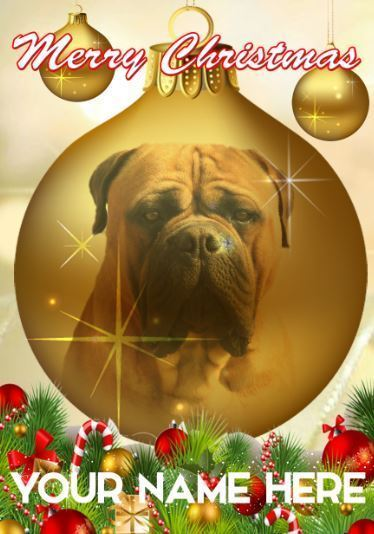 Primary image for Bullmastiff Dog Bauble Merry Christmas Personalised Greeting Card Xmas codeB116